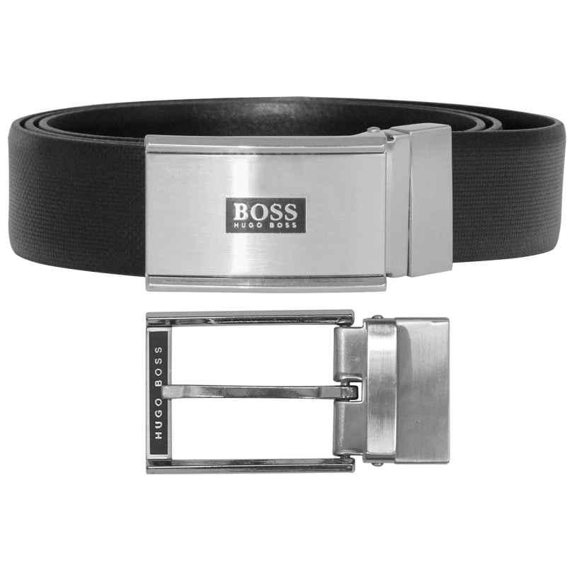Boss 50402847 Herren-Ledergürtel Geschenkset Gregorio Schwarz 4029049430803