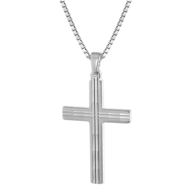 trendor 63560 Silber Herren-Halskette mit Kreuz-Anhänger 4260227763560