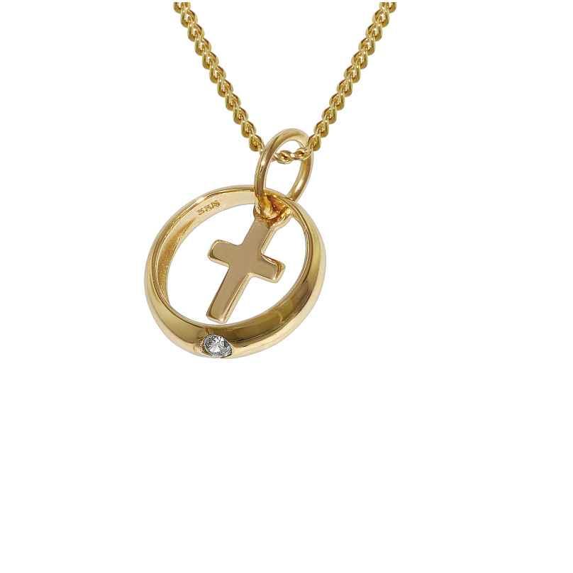 trendor 78278 Gold Taufring mit Kreuz an 42 cm goldplattierter Halskette 4260333978278