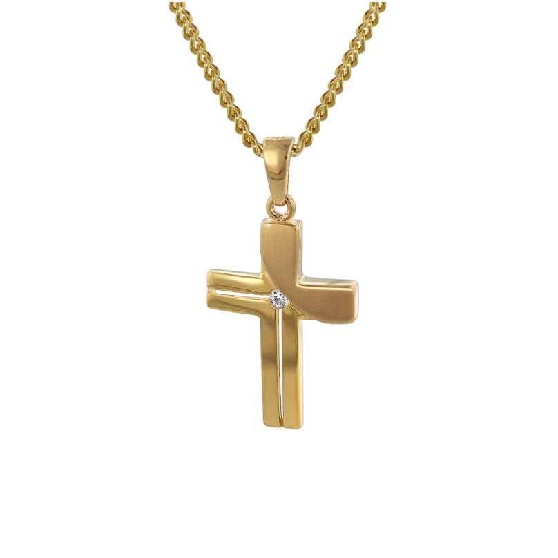 trendor 35728 Gold Kreuz-Anhänger mit 42 cm goldplattierter Kette 4260435357285