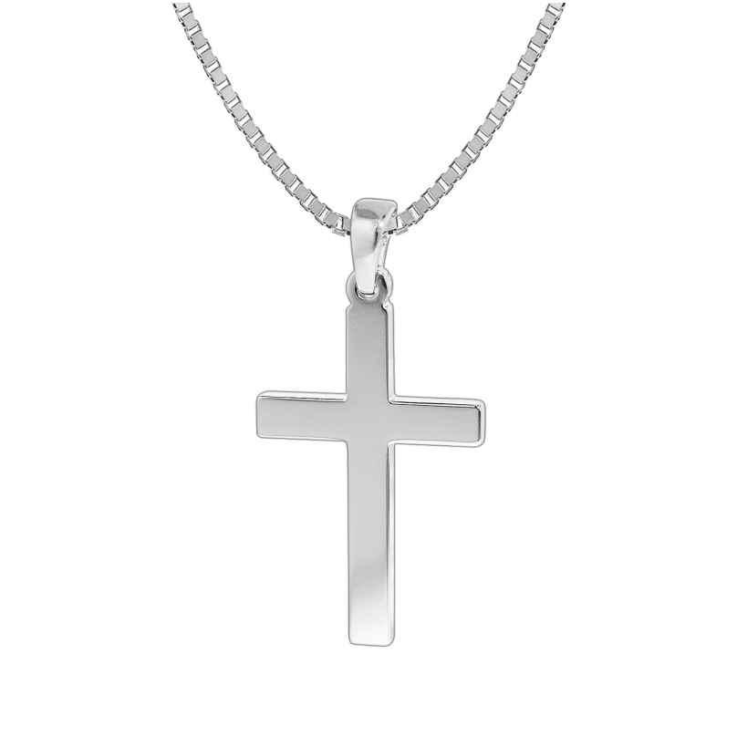trendor 35844 Silber Herren-Halskette mit Kreuz-Anhänger 4260435358442