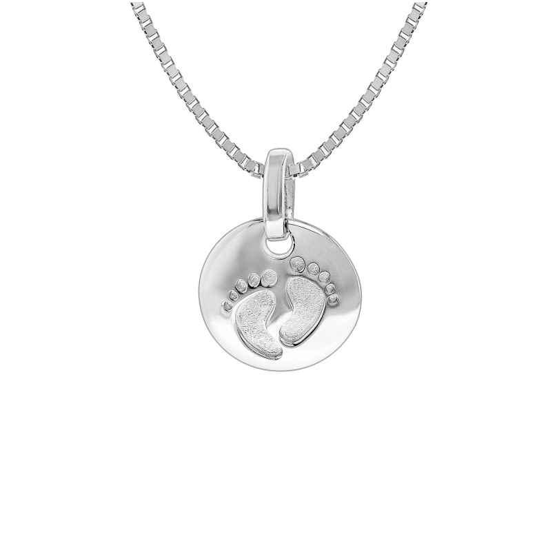 trendor 35860 Silber Halskette mit Anhänger Baby-Fußabdruck 4260435358602