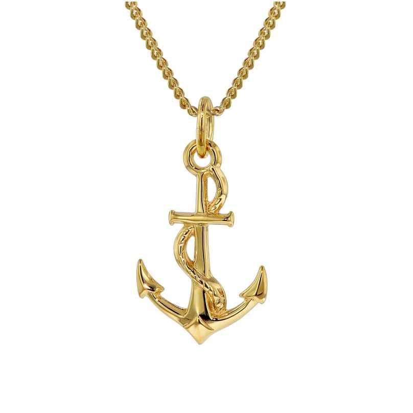 trendor 35801 Gold-Anhänger Anker mit 42 cm goldplattierter Halskette 4260435358015