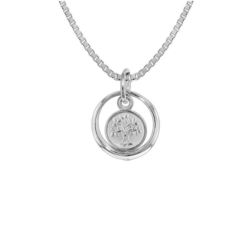 trendor 08308 Silver Kids Necklace Christening Ring with Tree of Life 4260497083085
