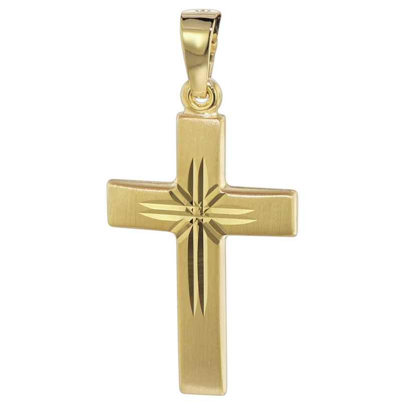 trendor 08615 Kreuz Anhänger 585 Gold 22 mm 4260497086154