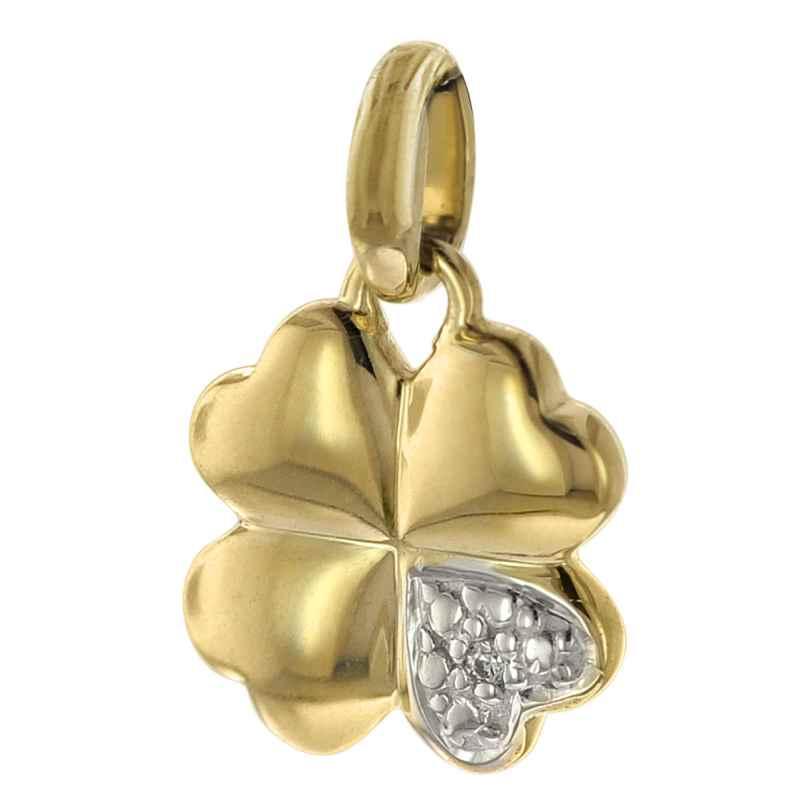 trendor 08723 Anhänger Kleeblatt 333 Gold Zirkonia 16 mm 4260497087236