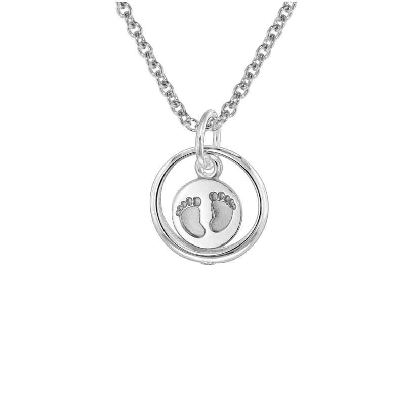trendor 08467 Silver Christening Ring Baby Footprints Kids Necklace 4260497084679
