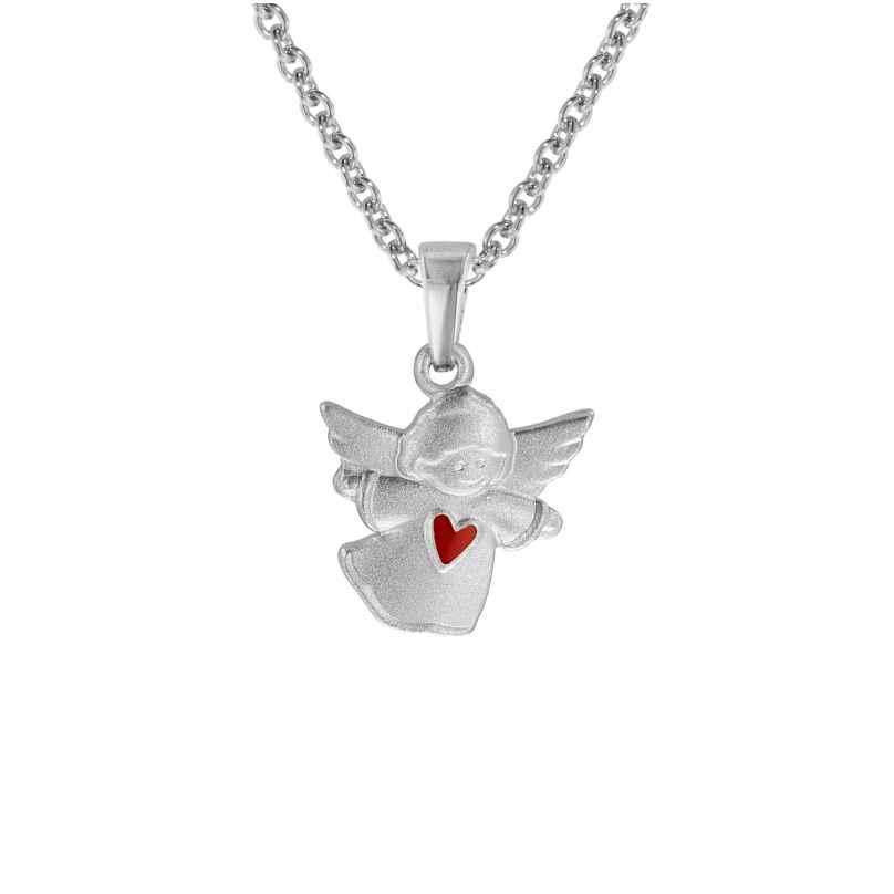 trendor 08470 Silberkette für Kinder Schwebender Engel mit rotem Herz 4260497084709
