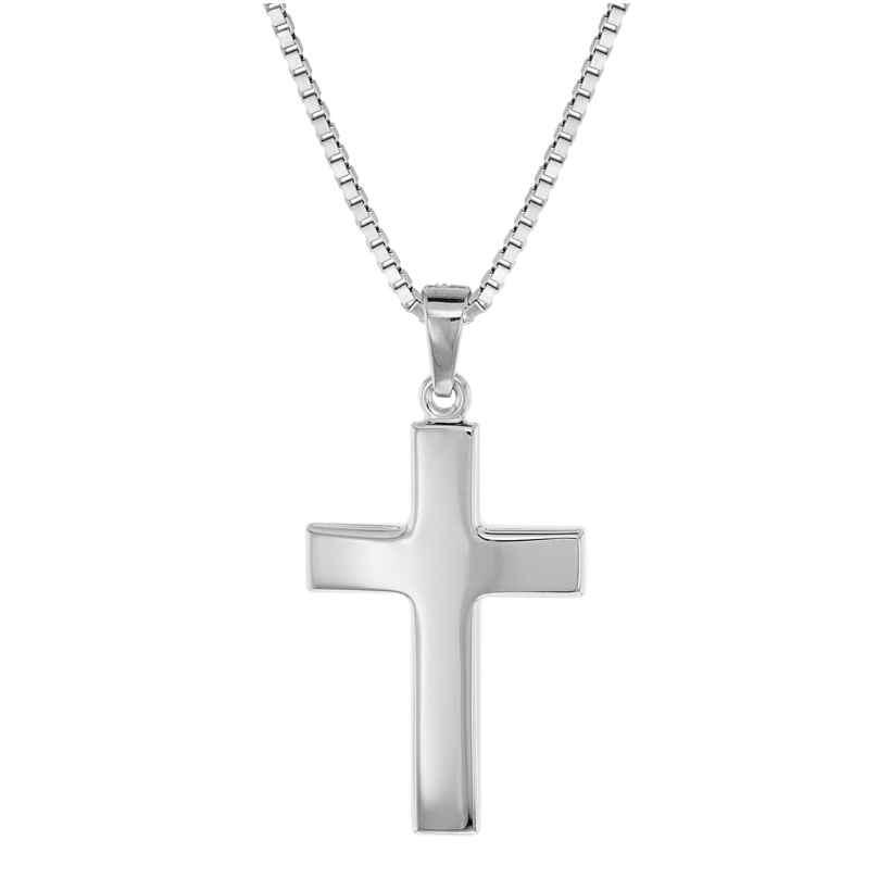 trendor 08474 Silber Herren-Halskette mit Kreuz