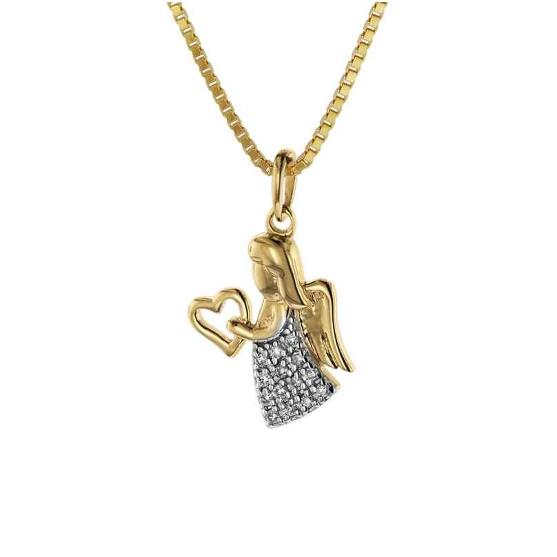 trendor 08844 Engel-Anhänger Gold 585 mit Diamanten an goldplattierter Kette