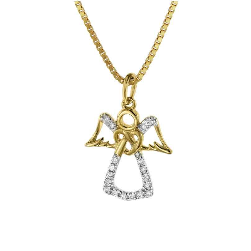 trendor 08848 Engel Anhänger Gold 585 mit Diamanten an goldplattierter Kette