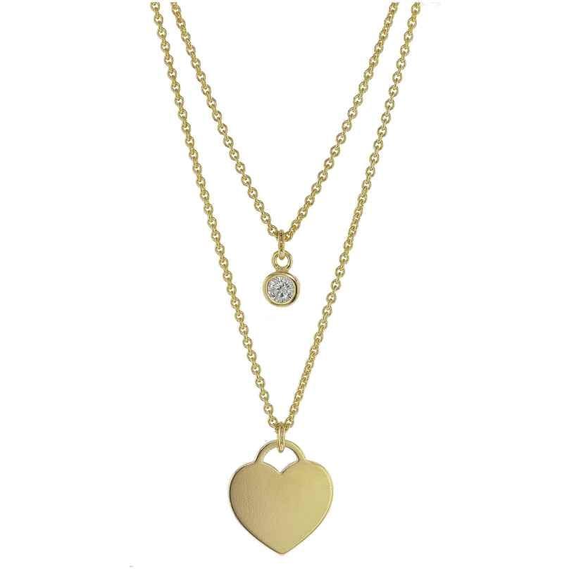trendor 75068 Halsschmuck für Damen 925 Silber Goldplattiert 2-Reihig 4260641750689