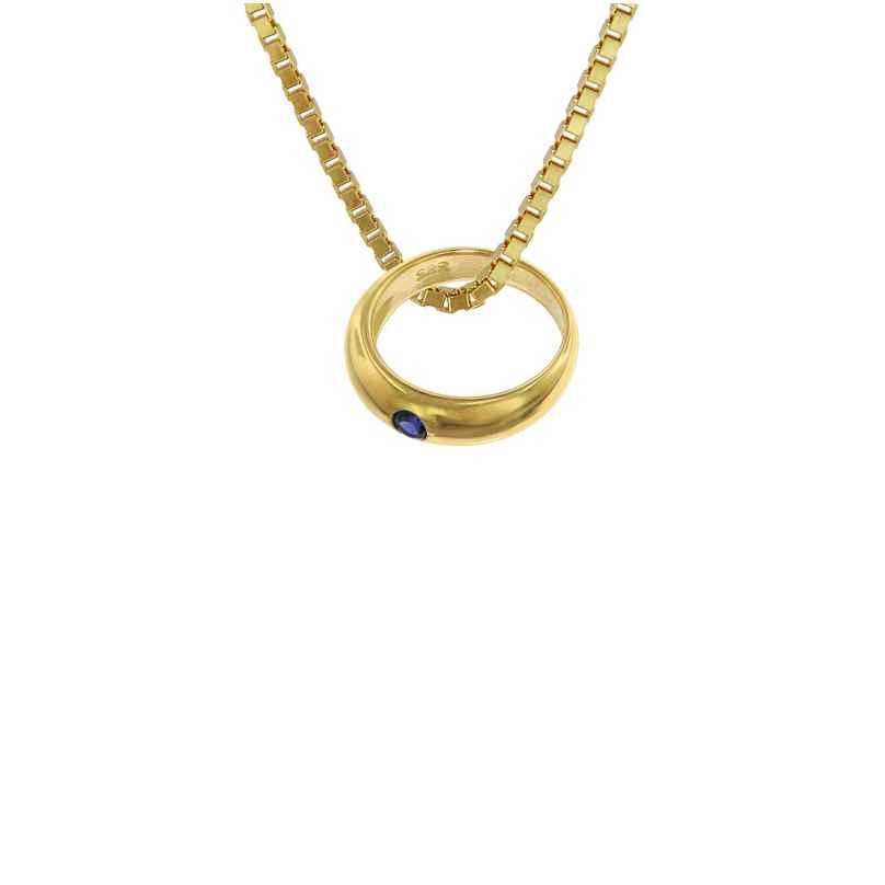 trendor 75122 Taufring mit Saphir Gold 585 an goldplattierter Kette 42/40 cm 4260641751228
