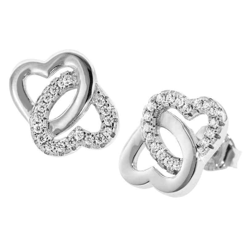 trendor 08604 Silber Ohrringe Verschlungene Herzen 4260497086048