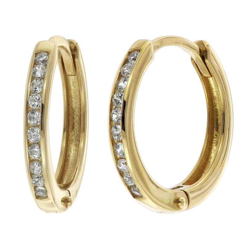 trendor 08825 Klappcreolen Gold 585 12 mm Zirkonia 4260497088257