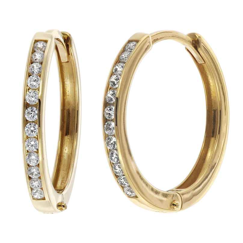 trendor 08828 Klappcreolen Gold 585 15 mm Zirkonia 4260497088288