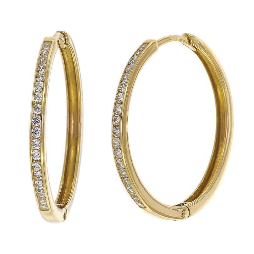 trendor 08834 Klappcreolen Gold 585 21 mm Zirkonia 4260497088349