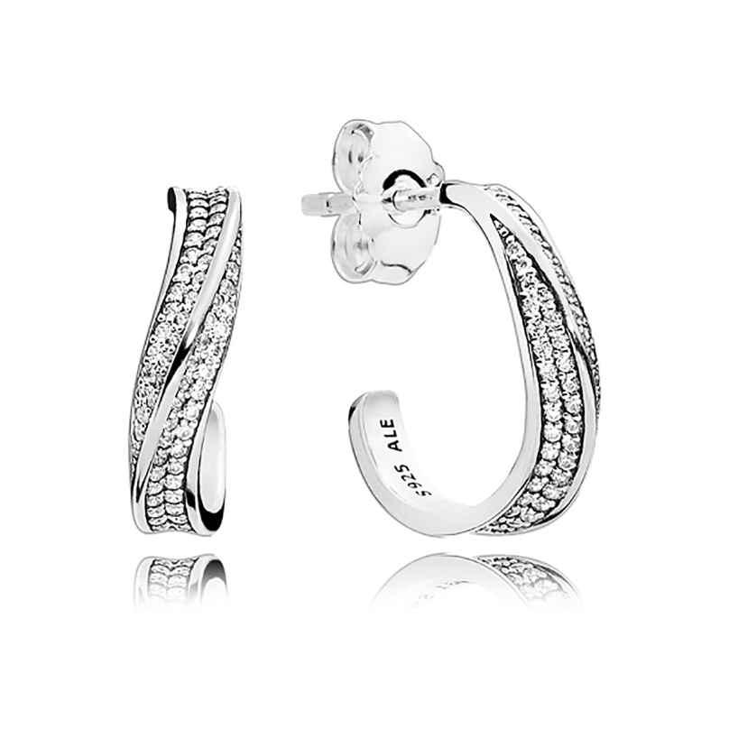 Pandora 297097CZ Damen-Ohrringe Elegante Wellen 5700302651409