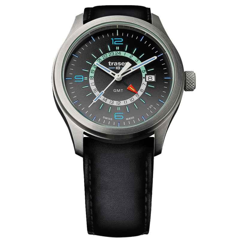 traser H3 107231 Mens Watch P59 Aurora GMT Anthracite Leather Strap 7630027703474