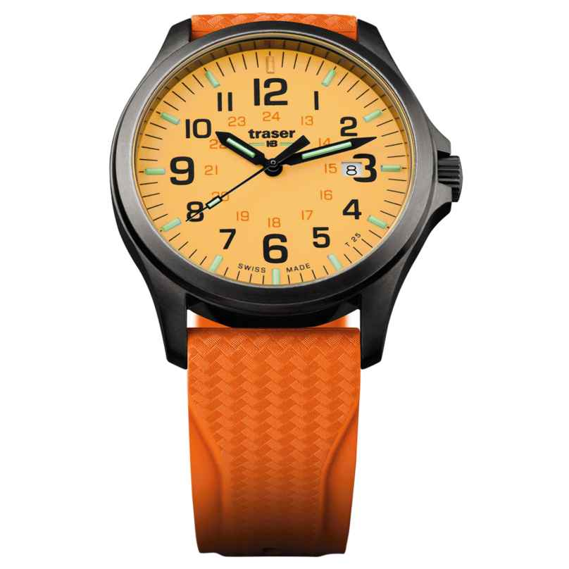traser H3 107423 Herrenuhr P67 Officer Pro Gun Metal Orange Taucherband 7630027703603