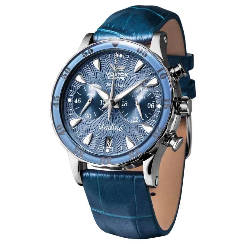 Vostok Europe VK64-515A526 Damen-Armbanduhr mit 3 Armbändern Blau 4260157447738