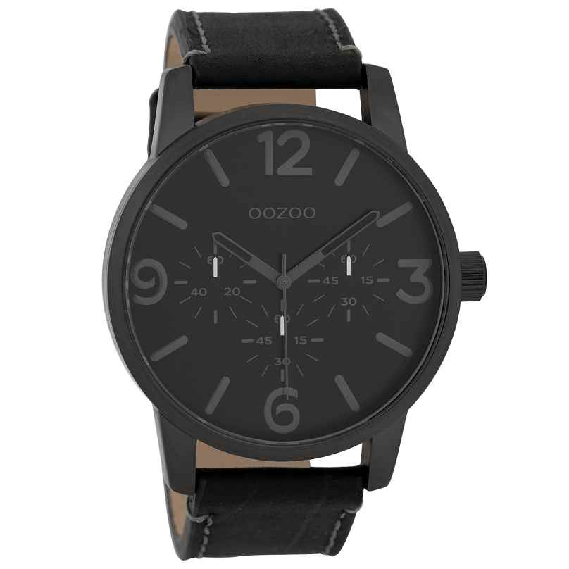 Oozoo C9654 Men's Watch with Leather Strap Black 45 mm 8719929006117