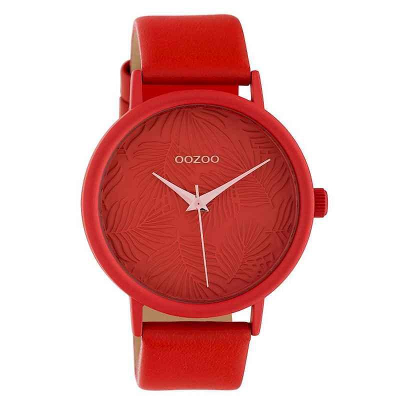 Oozoo C10163 Damenuhr mit Lederband Korallrot/Rosé 42 mm 8719929011845