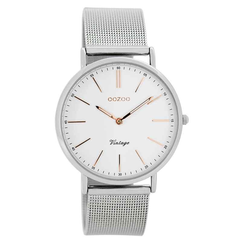 Oozoo C7396 Vintage Damen-Armbanduhr Weiß/Silber 36 mm 9879012505732