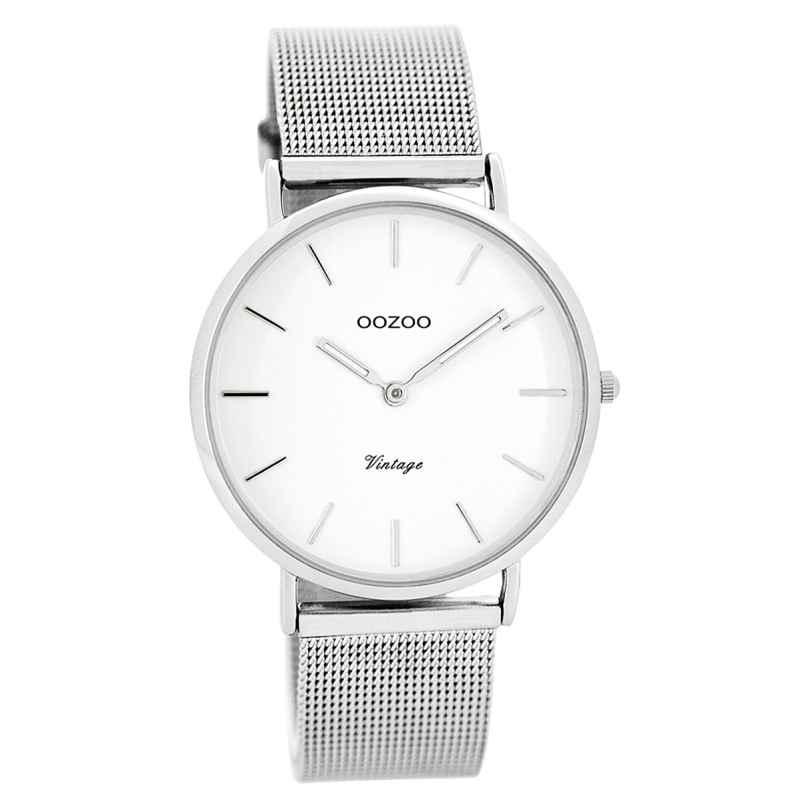 Oozoo C7728 Vintage Damenuhr Weiß/Silber 36 mm 9879012508726