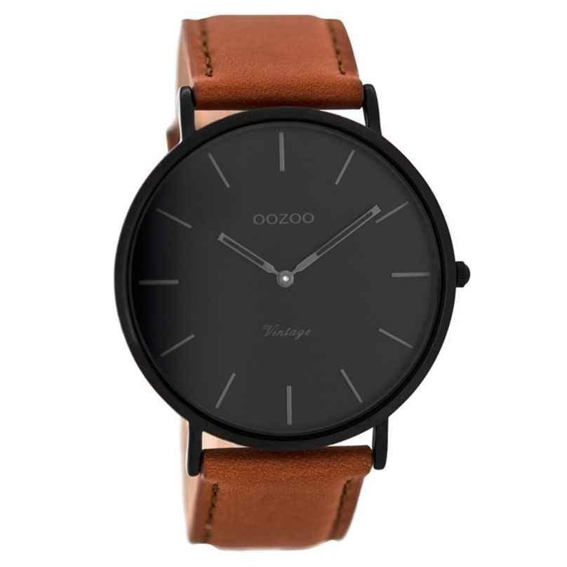 Oozoo C8126 Vintage Armbanduhr mit Lederband Cognac/Schwarz 44 mm 9879012512327