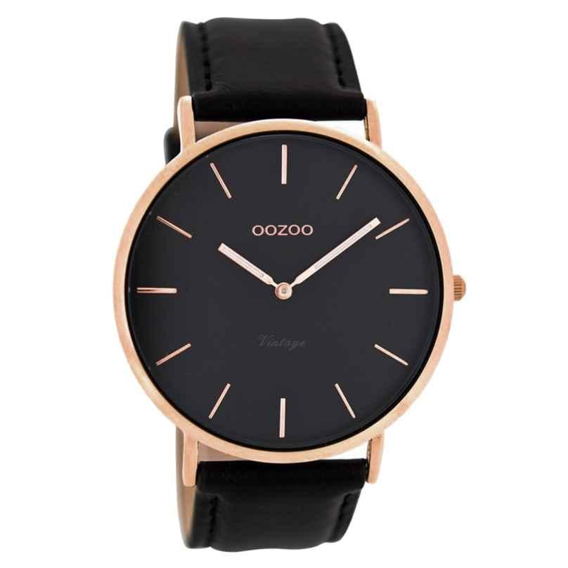 Oozoo C8139 Vintage Armbanduhr mit Lederband 44 mm Schwarz 9879012512457