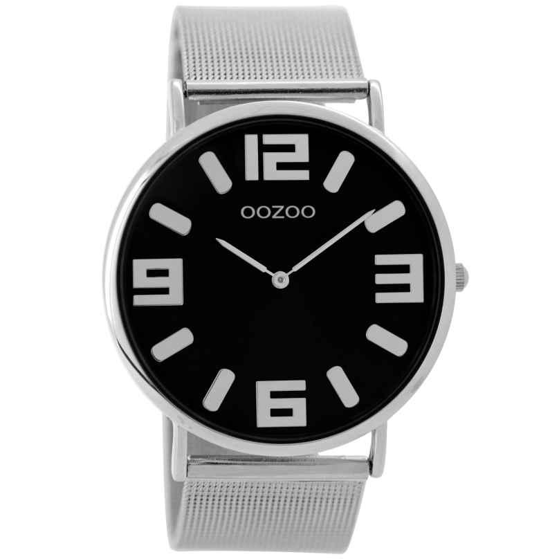 Oozoo C8881 Unisex Armbanduhr Silber/Schwarz 42 mm 9879012520124