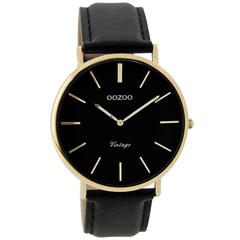 Oozoo C9300 Armbanduhr Vintage Schwarz/Gold Unisex 40 mm 9879012520315