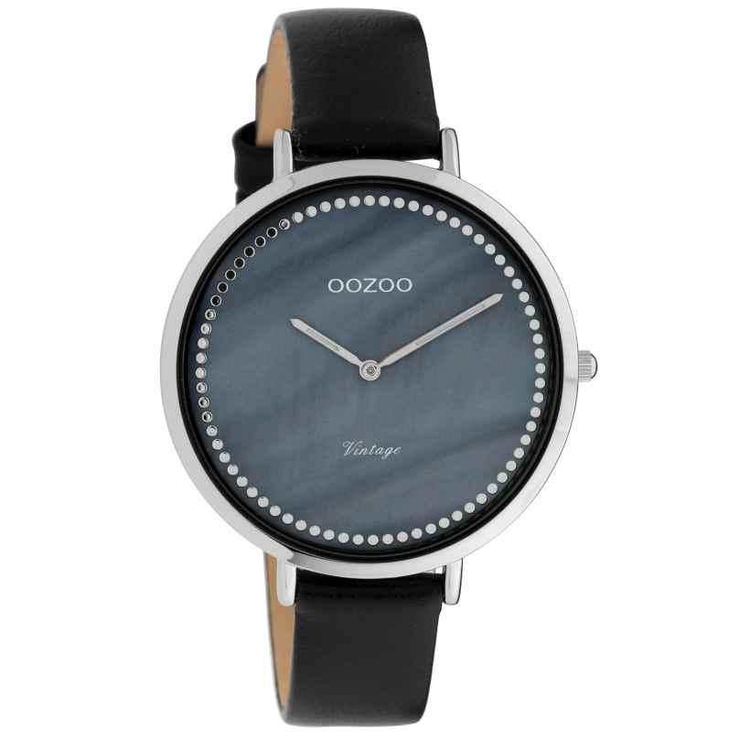 Oozoo C9853 Damenuhr Vintage Perlmutt Blau/Schwarz 40 mm 8719929008418