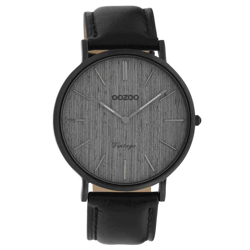 Oozoo C9869 Ladies' Watch Vintage Wood Grey/Leather Strap 40 mm 8719929008579