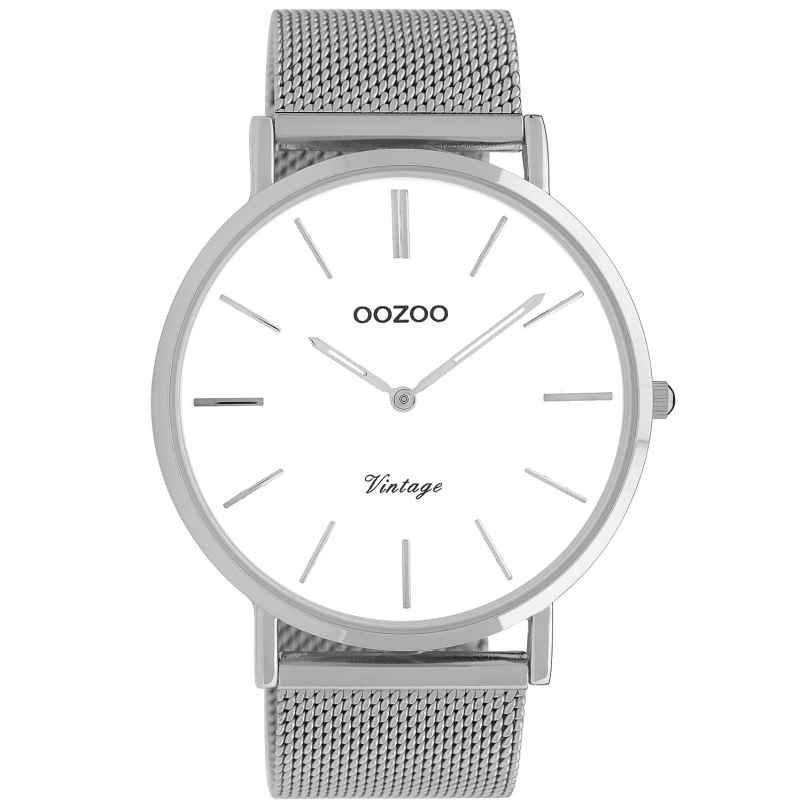 Oozoo C9900 Armbanduhr Vintage Silber/Weiß 44 mm 8719929009606
