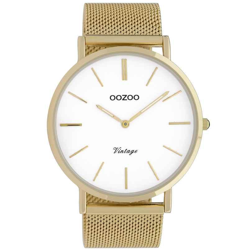 Oozoo C9908 Armbanduhr Vintage Goldfarben/Weiß 44 mm 8719929009682