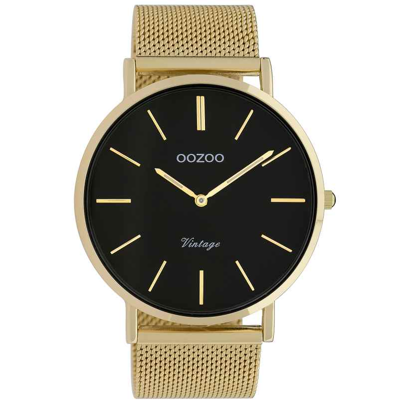 Oozoo C9912 Armbanduhr Vintage Goldfarben/Schwarz 44 mm 8719929009729