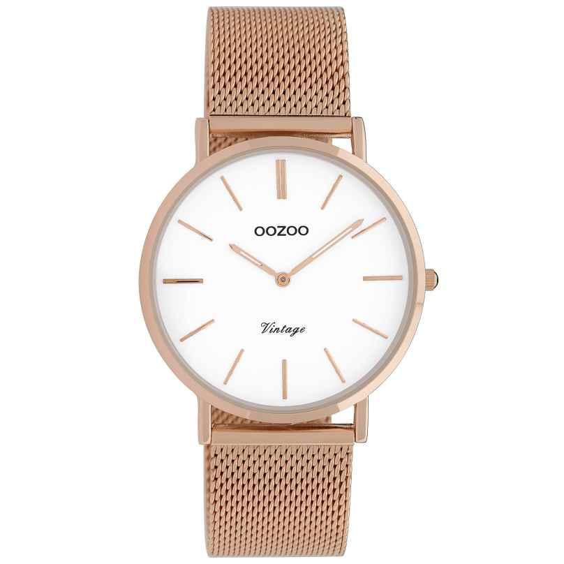 Oozoo C9918 Damenarmbanduhr Vintage Roségoldfarben/Weiß 36 mm 8719929009781