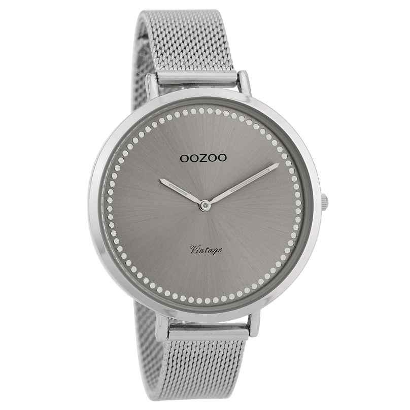 Oozoo C9855 Damenuhr Vintage Silber/Grau 40 mm 8719929008432