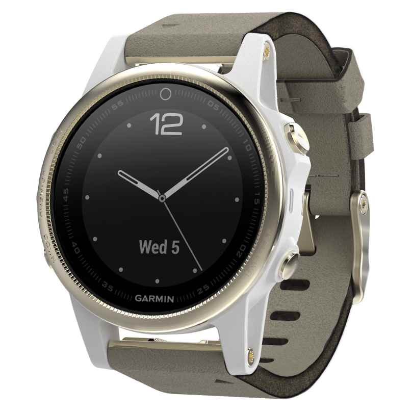Garmin 010-01685-13 fenix 5S Saphir GPS Multisport Smartwatch Leder 0753759172138