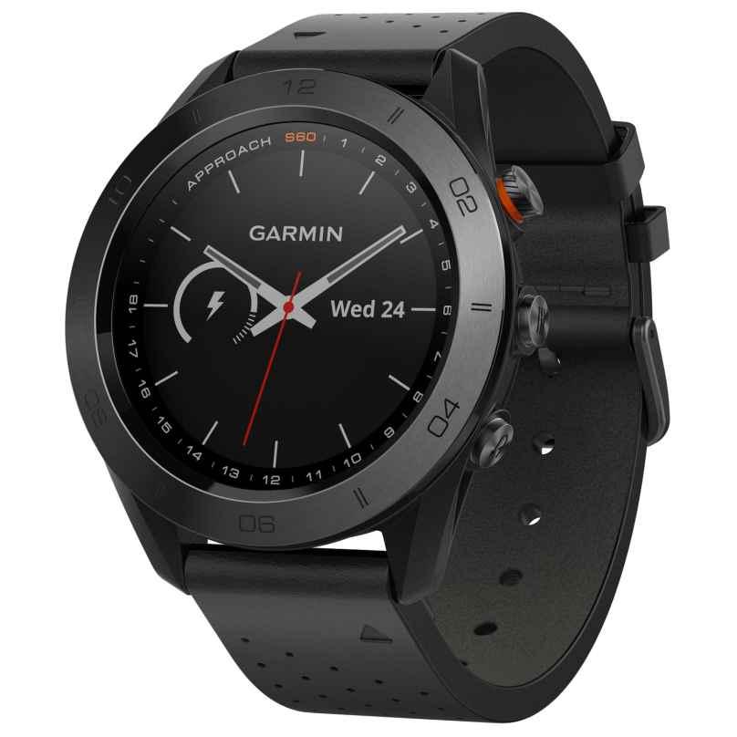 Garmin 010-01702-02 Approach S60 Premium GPS Golfuhr Lederband Schwarz 0753759172824