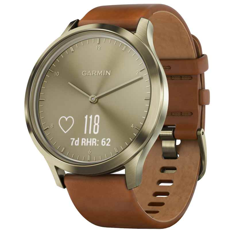 Garmin 010-01850-05 vivomove HR Premium Ladies Smartwatch S/M Light Brown 0753759184674