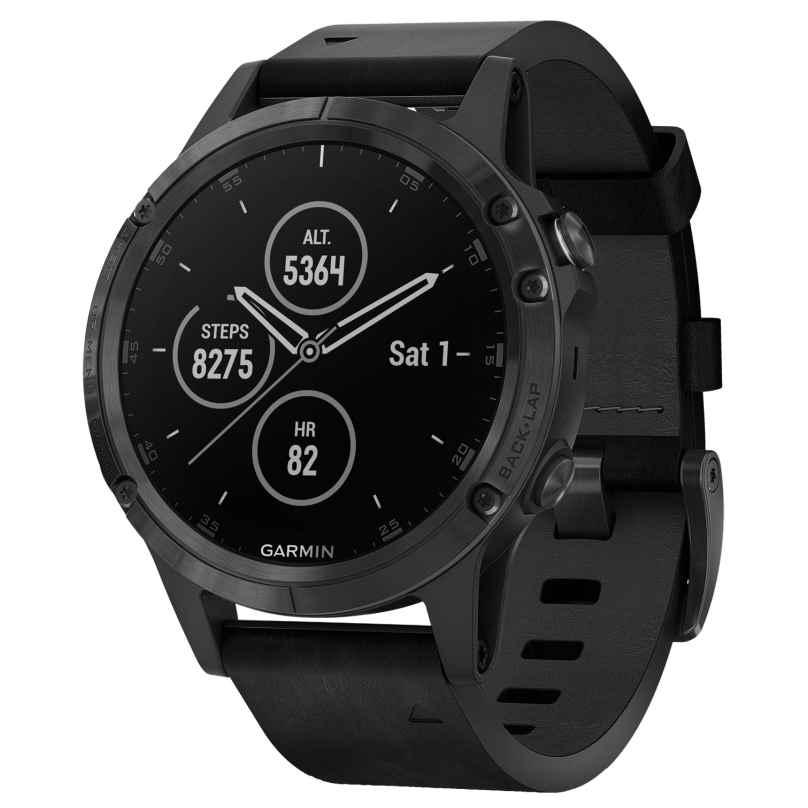 Garmin 010-01988-07 fenix 5 Plus Saphir GPS Multisport Smartwatch Lederband 0753759207045