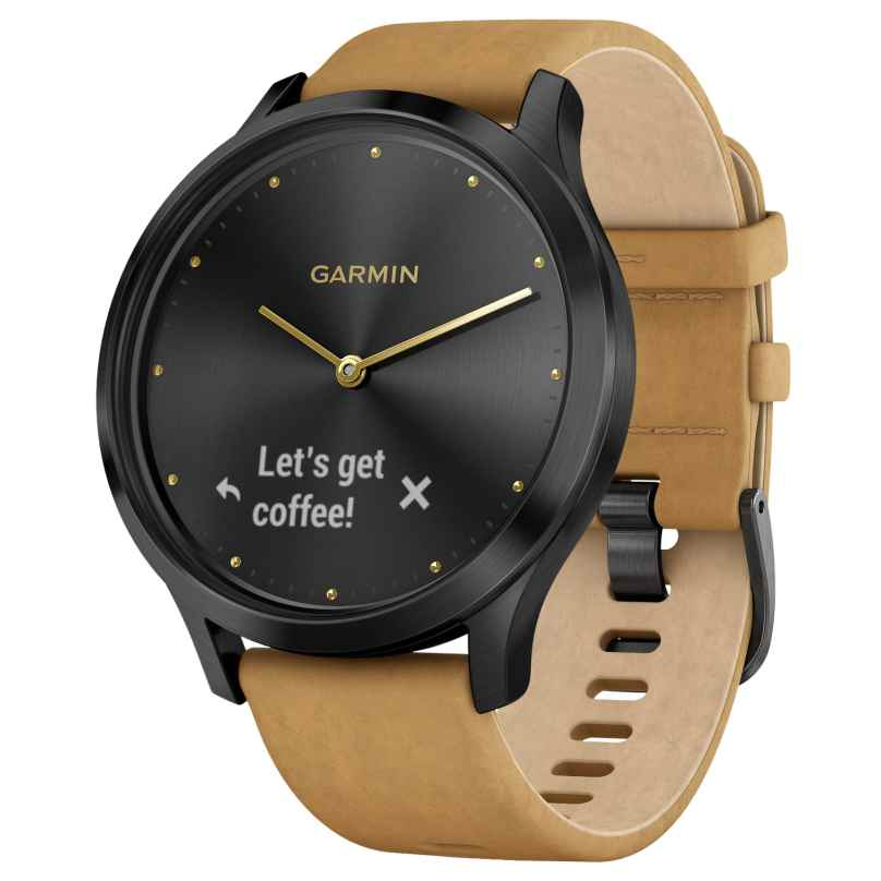 Garmin 010-01850-00 vivomove® HR Premium Fitness-Tracker Smartwatch Black/Tan 0753759182366