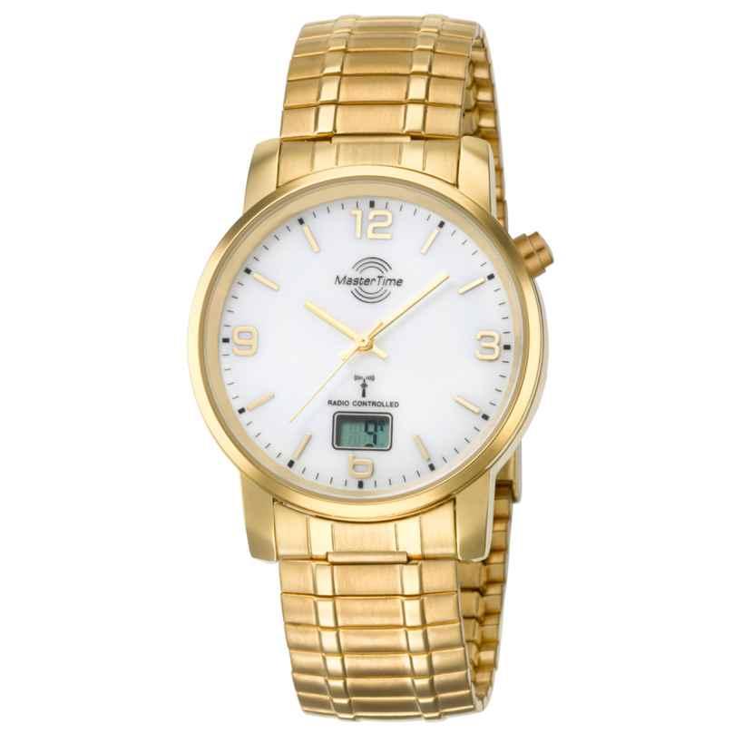 Master Time MTGA-10312-12M Herren-Funkuhr Basic mit Zugband Goldfarben 4260411150077