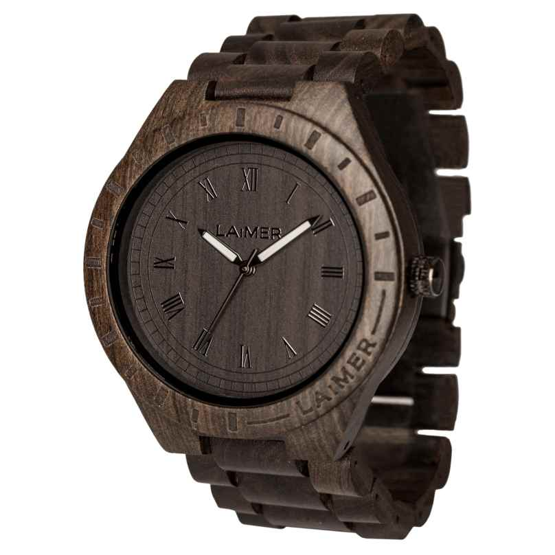 Laimer 0018 Mens Wood Watch Black Edition 0700153860321