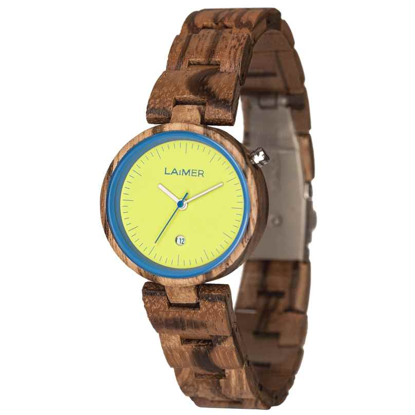 Laimer 0053 Wooden Ladies Watch Nicky Blue 0727973247217