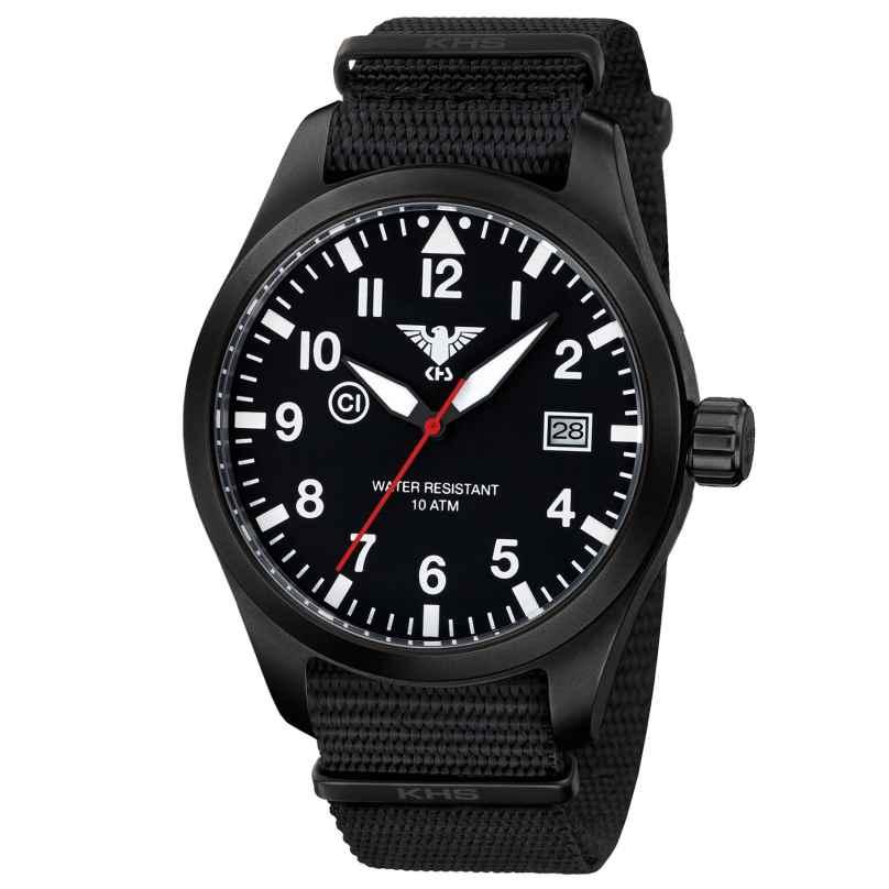 KHS AIRBS.NB Herrenuhr Airleader Black Steel Natoband Schwarz 4260446981172
