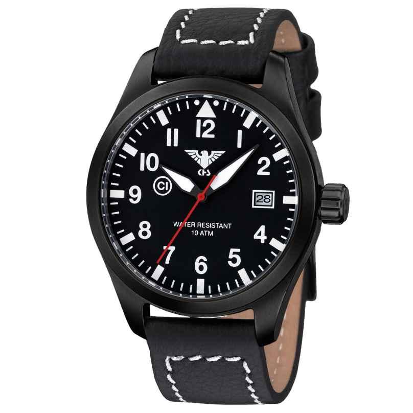KHS AIRBS.LBB Herrenuhr Airleader Black Steel Büffellederband Schwarz 4260446981332